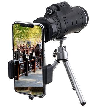 IPRee® 40X60 Monocular Optical HD Telescópio de Lente + Tripé + Clipe de Celular