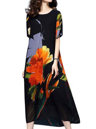 エレガントな女性の花のプリント半袖ロングドレス