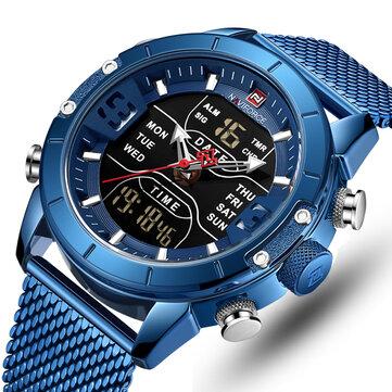 NAVIFORCE 9153 Business Style LED Dual Digital Watch Waterproof Full Steel Quartz Watch