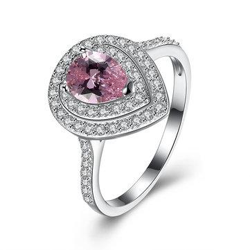 INALIS Plata de ley 925 de lujo Mujer Anillo dulce Rosa Forma de gota de piedras preciosas Regalo de aniversario de Bellas