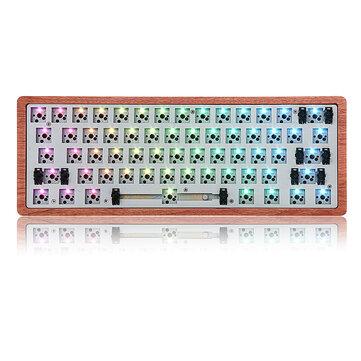[Träfallversion] Geek Anpassad GK61 Hot Swappable 60% RGB-tangentbord Anpassad Kit PCB Monteringsplatta