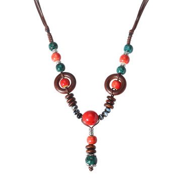 Vintage Beaded Pendant Sweater Chain Ethnic Ceramics Beads Long Necklace for Women