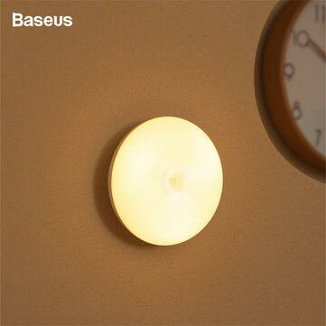Baseus LED Night Light PIR Human Body Motion Sensor Intelligent Battery Controlled Night Lamp for Indoor Hallway Bedroom Stairs