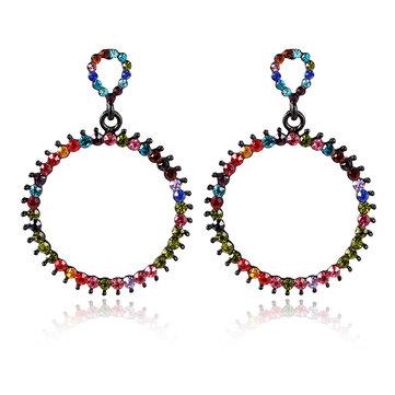 Women's Vintage Rhinestone Circle Earrings Colorful Pierced Fashion Earrings Jewelry