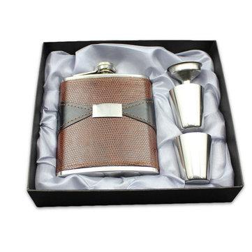 7oz Thép không gỉ cầm tay Whisky Bình hông Bao da nổi Pot PU Leather Mini Jug Chai Flagon Set Hộp quà tặng với cốc và phễu