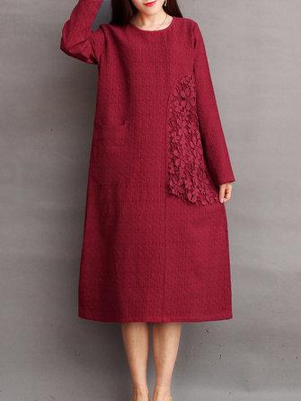ヴィンテージ女性ソリッドカラーレースのかぎ針編みのパッチワークの膝丈のドレス