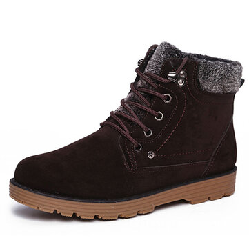 Men Winter Warm Boots Plush Cotton Lace Up Casual Outdoor Snow Boots