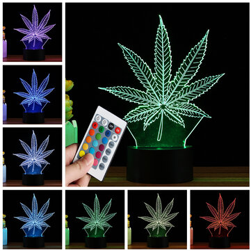 3D LED Maple Leaf Table Lamp Remote Control Touch Night Light Color Change Gift