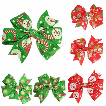 6 Different patterns lovely baby girls Christmas hair clips, good elasticity, soft material and beautiful design. Cute and lovely baby girls' hair clip. Great accessory and decoration for girls. It is a Best choice for Christmas party and photo. It will make your baby look more cute and beautiful.