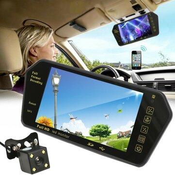 7 Inch TFT LCD bluetooth Coche Espejo retrovisor de estacionamiento Monitor + marcha atrás Coche Cámara