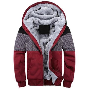 पुरुषों शीतकालीन मोटी फ्लीस गर्म हूडीज़ आरामदायक वर्तनी रंग जिपर कपास स्वेटरशॉट