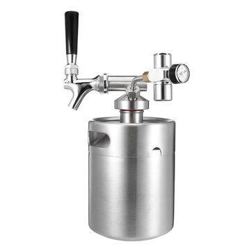 KCASA KC-BK8 4L/2L Stainless Steel 304 Beer Mini Keg Homebrew Keg Mini CO2 Regulator Air pressure Faucet Can Red Wine Brewing Bottle Wine Making Tools