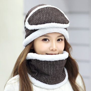 Women Winter Thick Warm Knitted Hat Fleece Liner Multipurpose Face Mask Knit Cap Scarf
