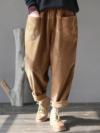 एम -5 एक्सएल महिला आरामदायक शुद्ध रंग लोचदार कमर कॉर्डुरॉय पैंट