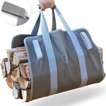 Firewood Carrier Log Carrier Wood Carrying Bag for Fireplace 16oz Waxed Canvas