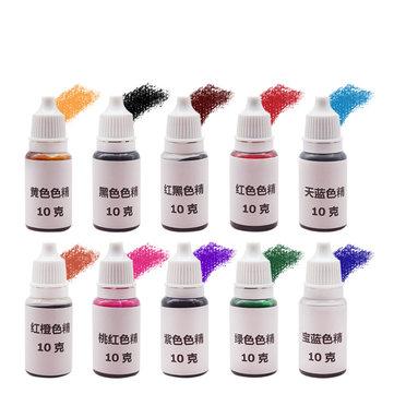 10Pcs Epoxy UV Resin Ultraviolet Curing Dye Colorant Liquid Pigment Mix Colors DIY Crafts