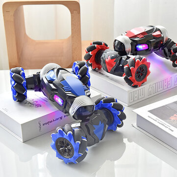 RC Stunt Car Twist Car Watch Induction Gesture Control Deformation Off-road Mode Flat Mode for Kid Gift - Red Dual mode