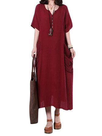 लूज महिला सॉलिड बटन पॉकेट सिलाई मैक्सी ड्रेस