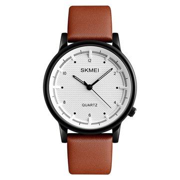 SKMEI 1210 Moda Watch Basit Stil Deri Kayış Casual Unisex Kuvars Analog Bileklik Saat