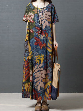 Women Short Sleeve Crew Neck Floral Cotton Vintage Maxi Dress