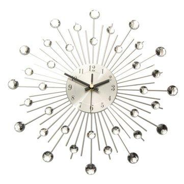 Диаманте кристалл эффект драгоценностями Санберст серебряной проволоки настенные часы
