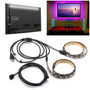 2PCS 50cm 5V 5050 Waterproof RGB USB LED Strip Light Bar TV Background Party Lighting Kit