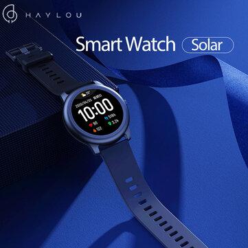 [BT 5.0] Haylou Pulseira de tela redonda completa solar 12 Modos de esporte Rastreador Coração Monitor de taxa 30 dias em espera Relógio inteligente Global Version