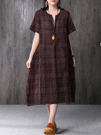 Kadın Casual Kısa Kollu V Yaka Vintage Plaid Elbise