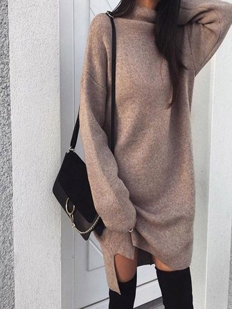 Casual Women Pure Color High Collar Long Sleeve Dress