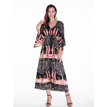 Women Half Sleeve V-Neck Printed High Waist Maxi Dress