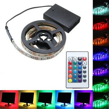 30/50/100/150 / 200CM Pin chạy 5050 RGB Đèn LED dải linh hoạt + Trang trí nội thất từ xa DC5V