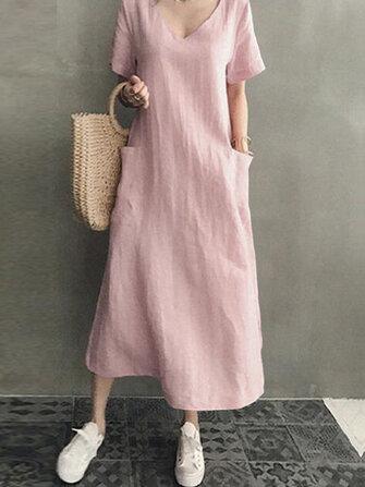 Kadın Pamuk Kısa Kollu V Yaka Yan Cep Katı Midi Elbise