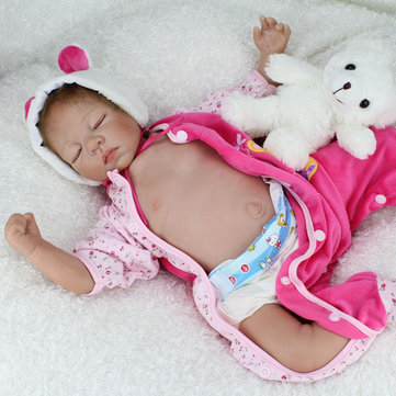 22'' Handicraft Cute Realistic Reborn Newborn Baby Happy Boy Dolls Silicone Toys
