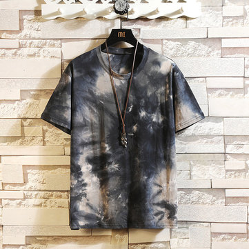Best Selling New Tie Tie Dyed Printed Short-sleeved T-shirt Male Retro Large Size Loose Japanese Youth T-shirt