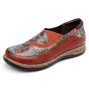 SOCOFY Round Toe Splicing Printing Pattern Genuine Leather Flats Shoes