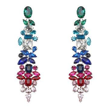 JASSY® Dangle Crystal Earring Emerald Sapphire Ruby Drop Earrings Geometric Zirconia Party Gift