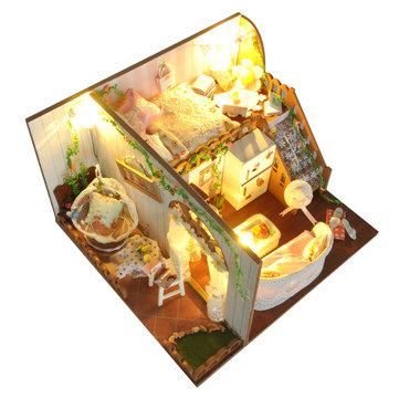 T-Yu TD10 Flores de primavera Casa DIY Casa de muñecas con la cubierta de la luz Modelo en miniatura Colección de regalos Decoración