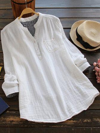 Mulheres de cor sólida de manga comprida botão de bolso com decote em v camisas de algodão