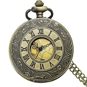 DEFFRUN Retro Steampunk Style Roman Numerals Pocket Watch
