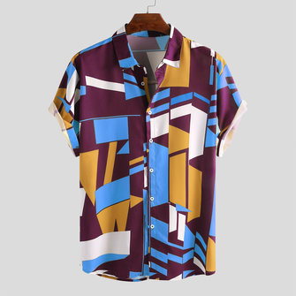 Fashion Colorful Contrast Color Printing Loose Casual Shirts