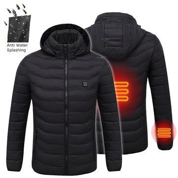 Men's Intelligent Heating USB Hooded Heated Work Jacket Coats Adjustable Temp