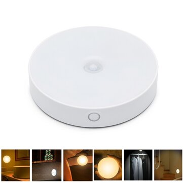 6 LED USB recarregável PIR movimento Sensor controle de luz LED noite lâmpada Ímã luz de parede para cabeceira de armário
