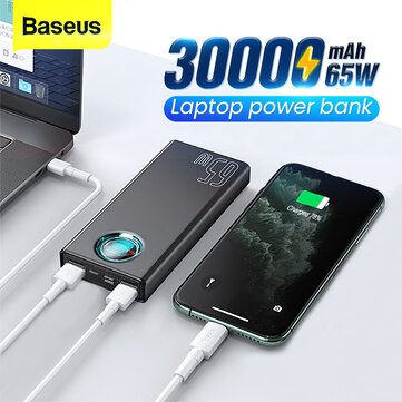 Baseus 65W USB PD 30000mAh Power Bank PD QC3.0 FCP SCP Fast Charging External Battery Charger 3 Inputs and 5 Outputs With 100W USB C to USB C Cable For iPhone 12 12 Mini 12 Pro For Samsung Galaxy Note 20 Ultra Xiaomi Mi10 For iPad Pro 2020 MacBook Air 2020