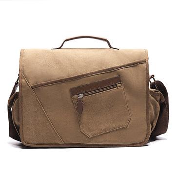 Ekpheroメンズレトロメッセンジャーバッグショックプルーフショルダーバッグ(15.6インチラップトップポケット付き)