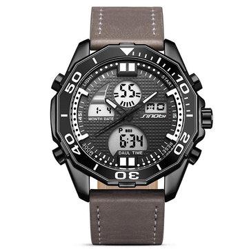 SINOBI 9730 Dual Display digital Watch Fashion Læderrem Men Lysdisplay Sport Watch