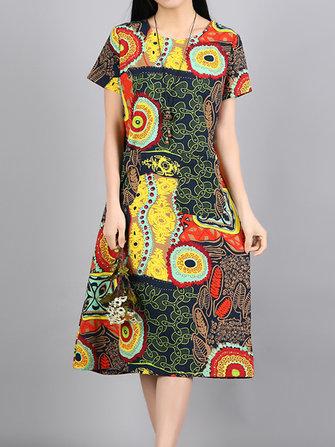 जातीय महिला लघु आस्तीन ओ-गर्दन मुद्रित जेब कपड़े