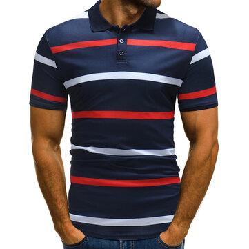 Color para hombre, lavado a rayas, lavado y Wear Golf Camisa Camiseta sin mangas, ajuste corto, para hombres
