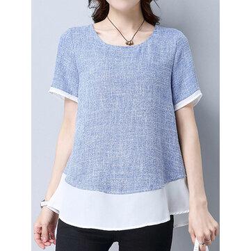 Wanita Elegan Lengan Pendek Warna Kontras Patchwork T-shirt