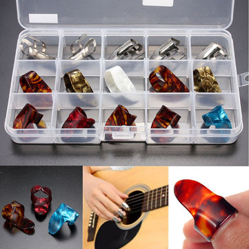 15pcs Multicolor Stainless Steel Celluloid Thumb Finger Guitar Picks With Case