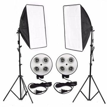 Photo Video Studio Light Kit 4-socket E27 Giá đỡ đèn Softbox Light Stands